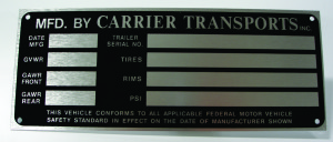 Serial number name plate example